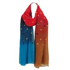 RED - MULTICOLOR DOTS VOILE SCARF