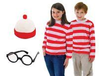 Red & White Striped Top, Hat & Glasses Where's Wally Wenda Costume - Medium