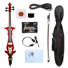 Yinfente Red Electric Cello 4/4 Beautiful Timbre Free Bag+Bow+Headphone #EC8