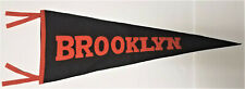 "EARLY 1900'S ANTIQUE ORANGE & BLACK ""BROOKLYN"" UNIVERSITY FELT PENNANT"