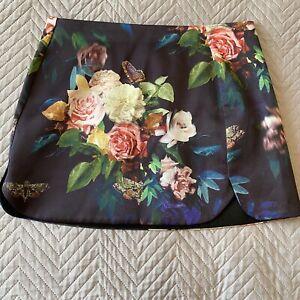 Topshop Skirt Size 10 Super Mini Short Length Navy Blue Floral Butterflies