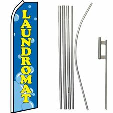 Laundromat Bubbles Blue / Yellow Swooper Flag & 16ft Flagpole Kit/Ground Spike