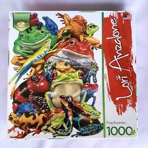 Serendipity Jigsaw Puzzle Frog Business by Lori Anzalone 1000 Piece 20 X 27 NEW