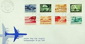 SURINAME 1965 8v AIR MAIL STAMPS CANCELED WITH PARAMARIBO ON FDC