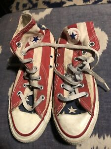 CONVERSE ALL STAR MADE IN USA AMERICAN FLAG SHOES FREE SHIPPING MENS 4 WOMENs 6