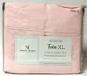 Sweet Home Collection Pale Pink Twin XL Size 4 Piece Sheet Set 1500 Thread Ct