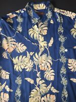 Tori Richard Honolulu Mens Blue Medium Aloha Floral Button Hawaiian Camp Shirt