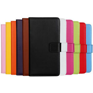 Black Genuine Leather Wallet Stand Cover for Samsung Galaxy Note 4 Case