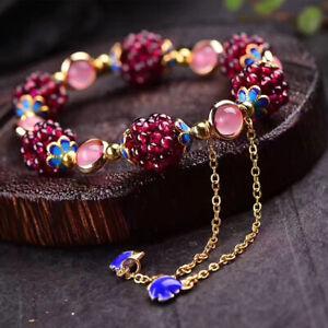 Natural Garnet Bracelets Bangle Hand-woven Women Bead Bracelet Friendship Couple