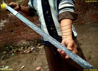 Custom Handmade Damascus Steel - 34'' Beautiful Cane Sword Blank Blade