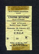 Lynyrd Skynyrd 1977 Concert Ticket Stub Glasgow Gimme Back My Bullets Tour UK