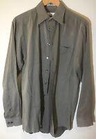 Calvin Klein Mens Sz 15 1/2 34-35 Button Front Solid Shirt Gray 100% Cotton