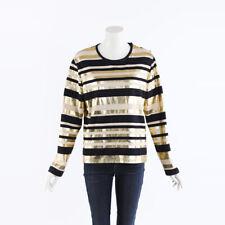Chanel 2018 Metallic Striped Jersey Top SZ 42