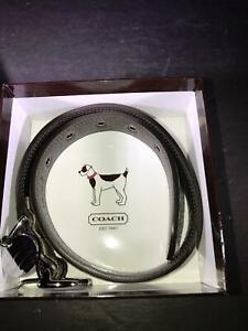 H) LARGE COACH BRAND SIGNATURE DOG COLLAR IN ORIGINAL BOX NEW