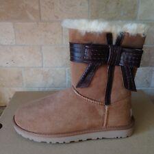 UGG Josette Bow Chestnut Suede Sheepskin Short Boots Size US 6 Womens