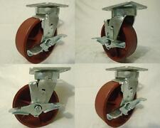 "6"" x 2"" Swivel Caster Kingpinless Ductile Steel Wheel w/ Brake 2000 lbs each (4)"