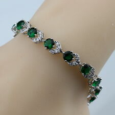 Sterling Silver, Green Emerald & White Topaz 11ct Adjustable Tennis Bracelet ED