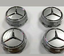 Mercedes AMG Style Alloy Wheel Centre Center Caps Silver Centre Lock Design 75mm