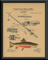 1884 Fishing Rod Patent And Trout Reprint On 100 Year Old Paper *P113