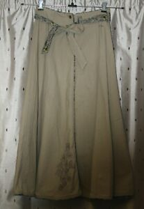 FAT FACE Ladies Long Beige Embroidered Cotton Skirt ~ Size 10