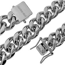 """16"""" Inch Choker Chain Stainless Steel Silver 14MM Cuban Link Hip Hop Necklace"""