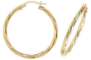 9CT GOLD TWISTED HOOP EARRINGS - 30mm DIAMETER - SOLID 9CT GOLD