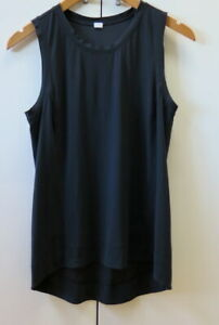 Stylish Black Tank Top with Laser Cut Details from Lululemon - Size 10 (CAN 6)