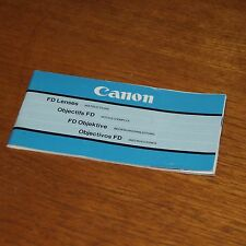 Instructions for CANON FD LENSES printed in JAPAN 62 pages 1980s