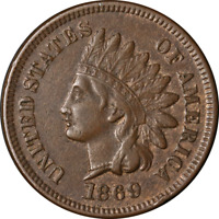 1869/9 Indian Cent Choice XF/AU Key Date Superb Eye Appeal Strong Strike