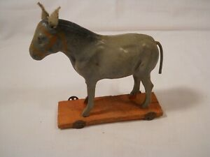 19thC Antique Victorian German Folk Art Painted Wood Pull Toy