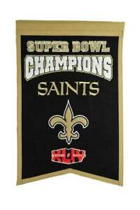 """NEW ORLEANS SAINTS SUPER BOWL XLIV CHAMPIONS EMBROIDERED WOOL BANNER 14""""X22"""""""