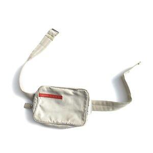 Prada Linea Rossa Mini Belt Bag Fanny Pack Gray Nylon Authentic
