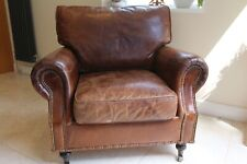 Antiqued vintage victorian style brown leather armchair cigar