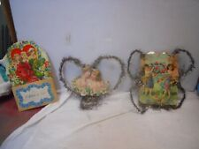 3 Vintage Valentine Paper Decorations with Tinsel, Pop-up Card 1930s Germany