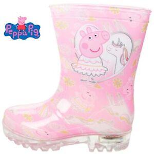 GIRLS PEPPA PIG PINK WELLIES RAIN SPLASH UNICORN WELLINGTON BOOTS UK SIZE 5-10