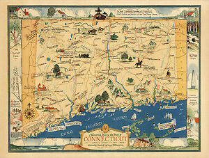 """1937 Historical Map State of Connecticut 11""""x14"""" Genealogy Family History Poster"""