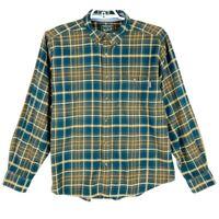 Woolrich Mens Oxford Shirt Green Plaid Long Sleeve Wool Point Collar Pocket XL