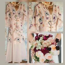 Very 20s nude blush deco gatsby bead Angel cape sleeve evening wedding dress 8