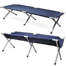 NEW Aluminium Military Army Camping Folding Camp Bed Cot w/ Carry Bag Case Navy