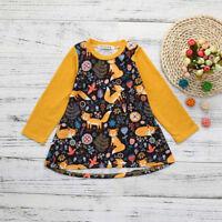 Toddler Kids Baby Girls Warm Dress Cartoon Print Sun Dress Clothes Outfits