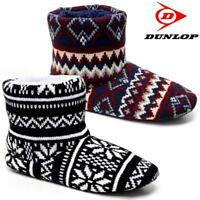 MENS SLIPPERS DUNLOP ANKLE FLEECE FUR WARM LINED FAIRISLE WINTER BOOTS SHOES SIZ