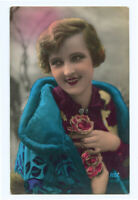 c 1930 Deco Glamour Young FRENCH BEAUTY Lady hand tinted photo postcard