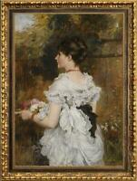 """Hand Painted Old Master-Art Antique Oil Painting Portrait girl on canvas 24""""x36"""""""