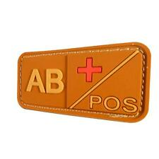 mud 3D AB POS blood type PVC rubber morale army parche touch fastener patch