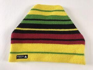 BURTON Snowboard Ski Yellow Red Green Black Beanie Hat Cap Striped Winter