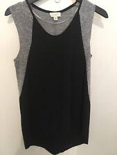 WITCHERY grey/black linen blend top XS