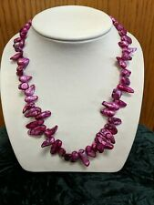 Magenta Freeform Freshwater Pearl Necklace, Baroque, Sterling Clasp & Chain