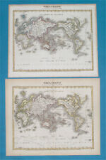 1846/52 TWO WORLD MAPS WITHOUT & WITH ANTARCTIDE original AMERICA UNITED STATES