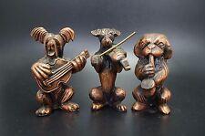 Vtg Metal Dog Band Skye Terrier Fox Pekingese Dog Violin Saxophone Guitar