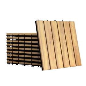 "Costway 80PCS 12"" x 12"" Acacia Wood Deck Tiles Interlocking Patio Stripe Pattern"